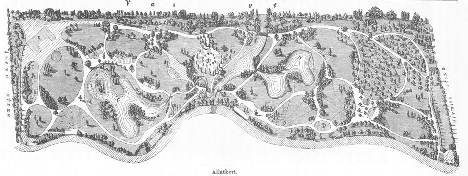 Az Állatkert által birtokba vett, bekerített és parkosított terület 1866-ban, a megnyitás évében