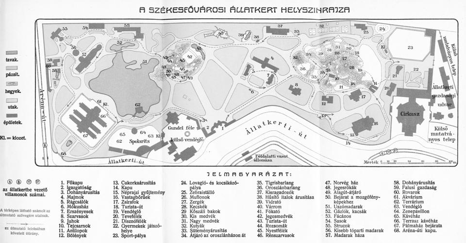 Az Állatkert helyszínrajza 1913-ban: a területet északkelet felől ekkor már nem ért el a Hermina útig, mert az ott lévő 1,7 hektáros sávban már a külső mutatványos telep, azaz a vurstli működött