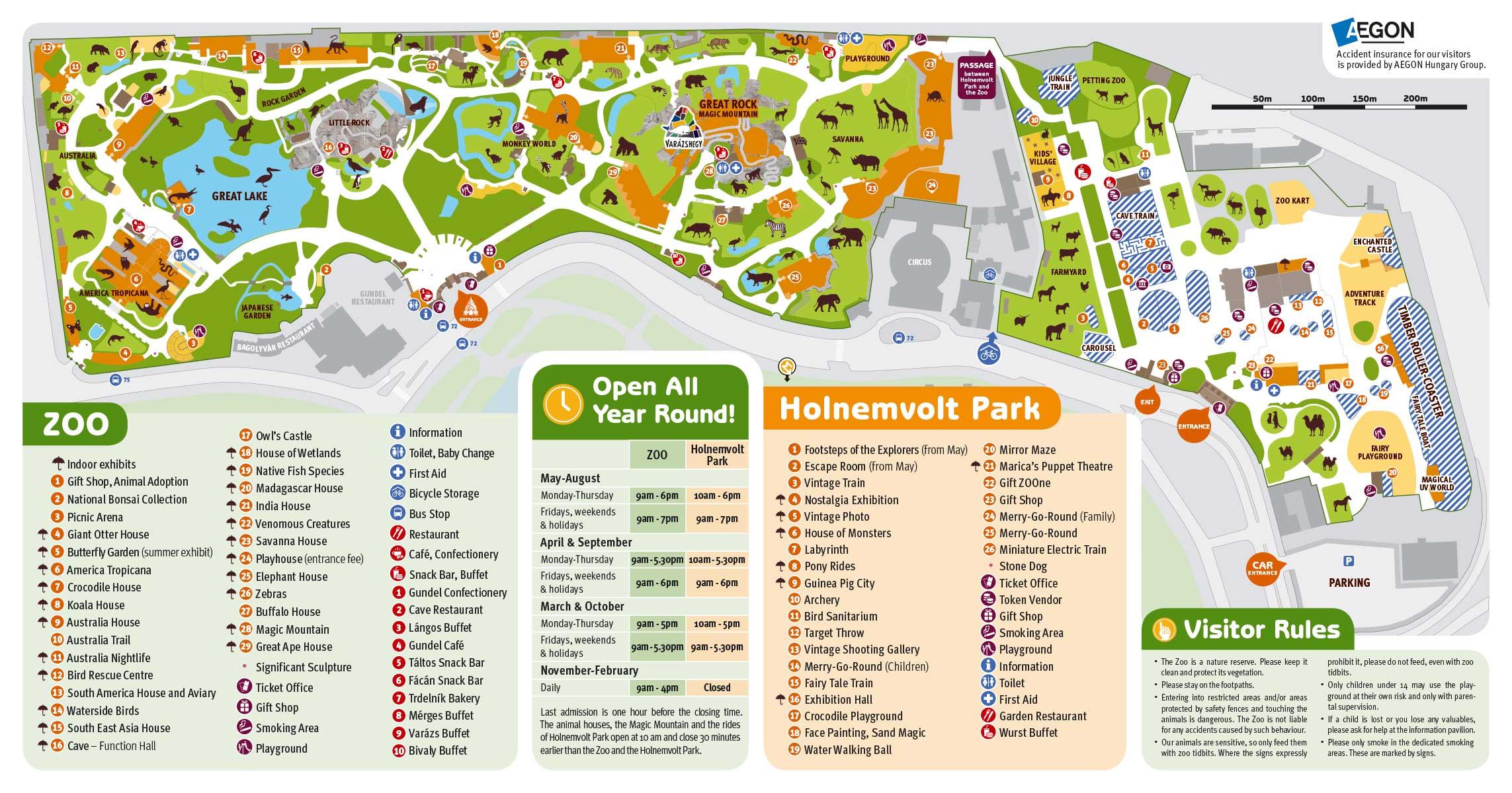 Plan du zoo de Budapest